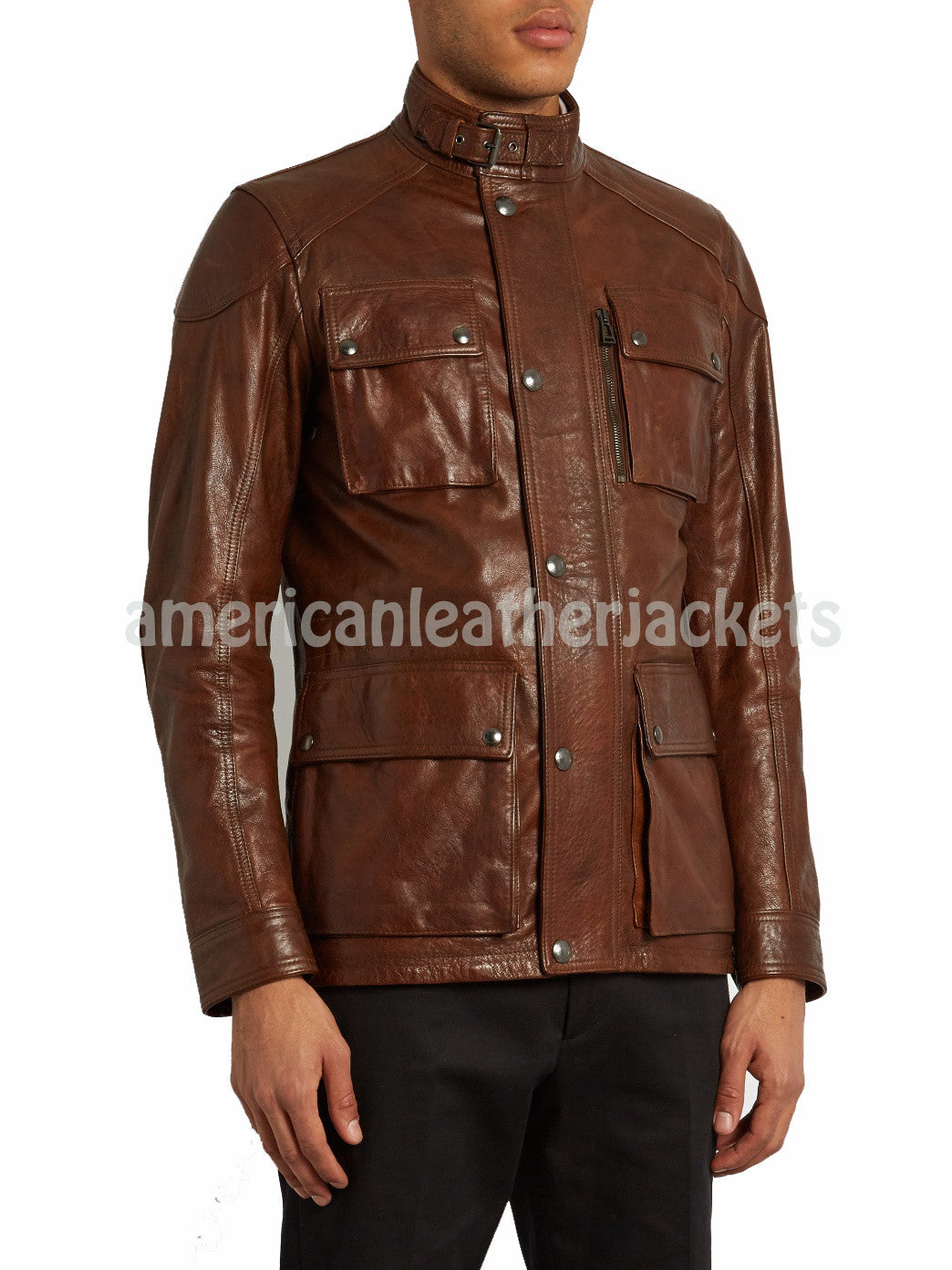 Front Pockets Men Leather Classic Coat