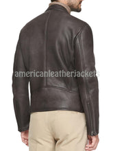 Stand Collar Men Leather Jacket