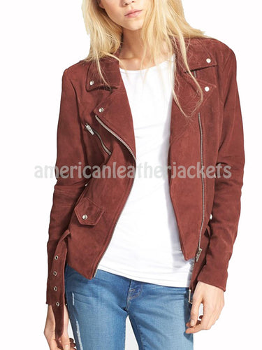 Biker Women Suede Leather Jacket