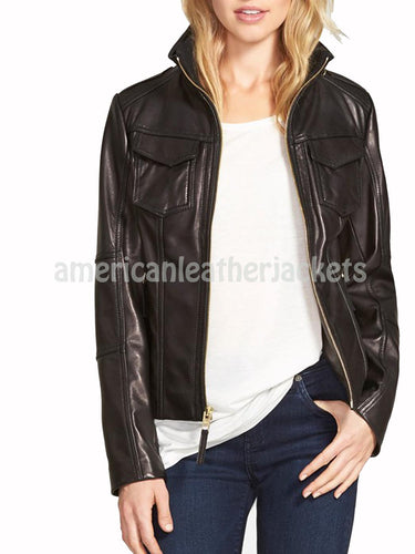 Classic Elegant Women Leather Jacket