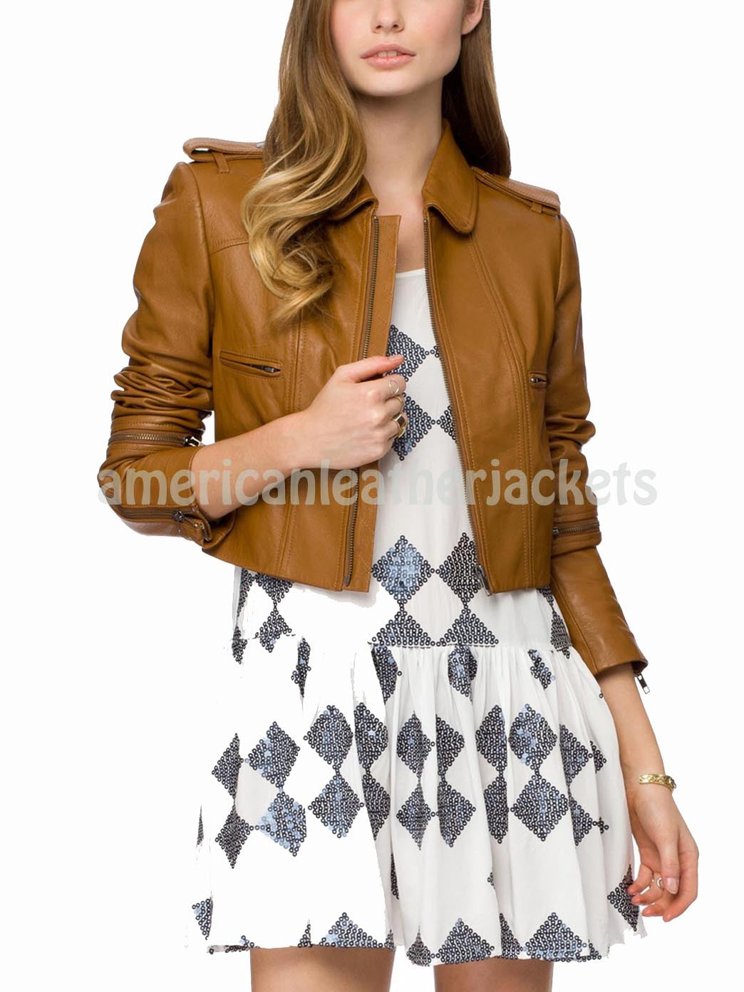 Military Style Women Cropped Leather Jacket