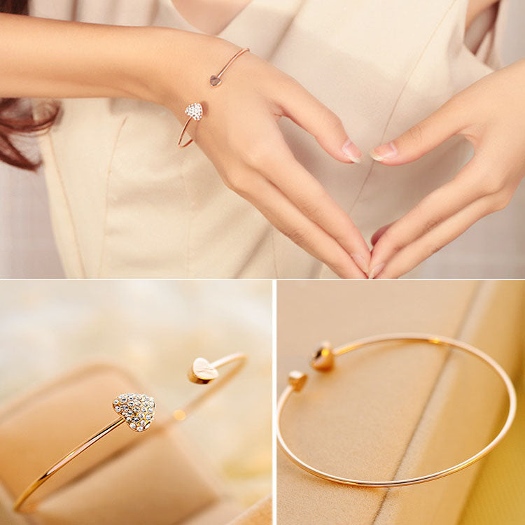 Double Heart Bow Cuff Bracelet for Women