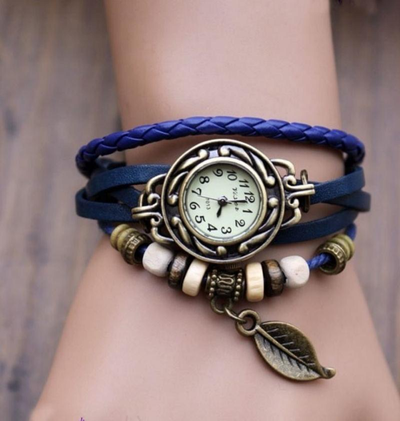 Vintage Weave Wrap Leaf Beads Wrist Watches