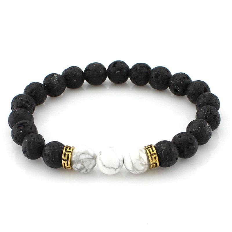Lava Stone Beads Strand Bracelet for Men