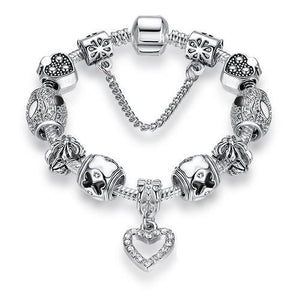 925 Silver Crystal Charm Bracelet for Women