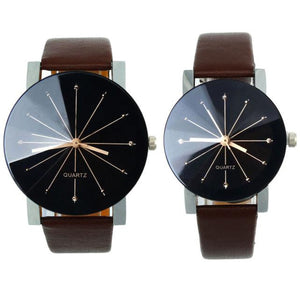 1Pair Round Case Leather Wrist Watch