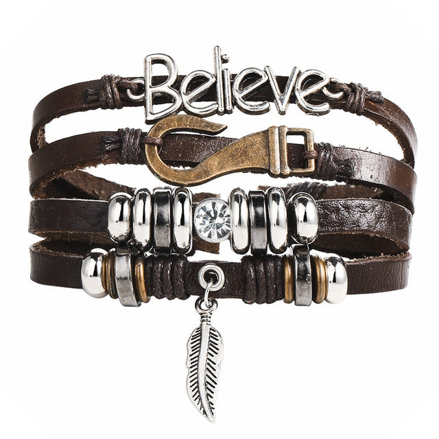 Retro Multiple Layer Leather Charms Bracelets