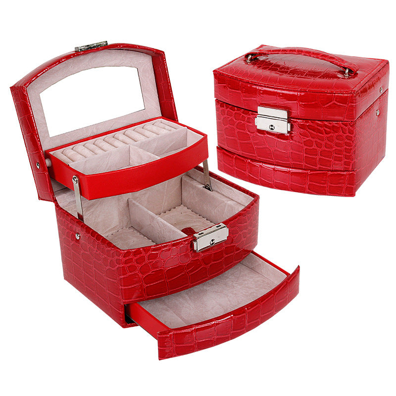 PU Leather Double Layer Jewelry Storage Box