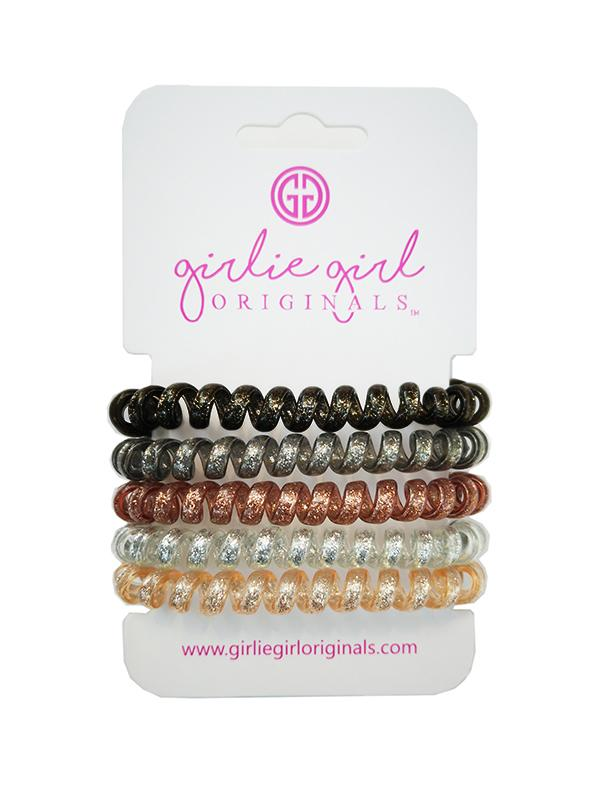 TC-GLITTER 17 BLK/Golden Telephone Cord Hair Ties