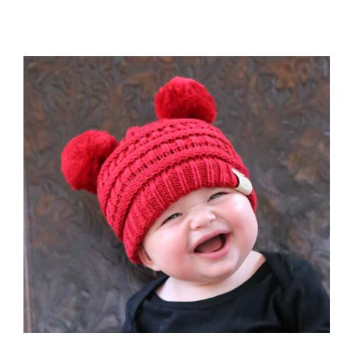 Baby-23 Double Pom Beanie Red