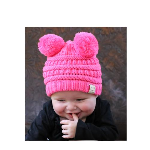 Baby-23 Double Pom Beanie New Candy Pink