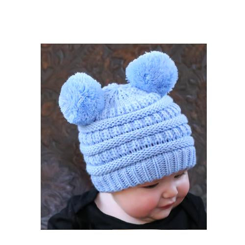 Baby-23 Double Pom Beanie Pale Blue