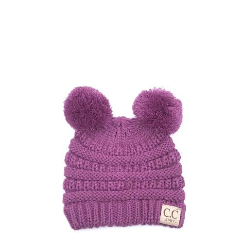 Baby-23 Double Pom Beanie New Lavender