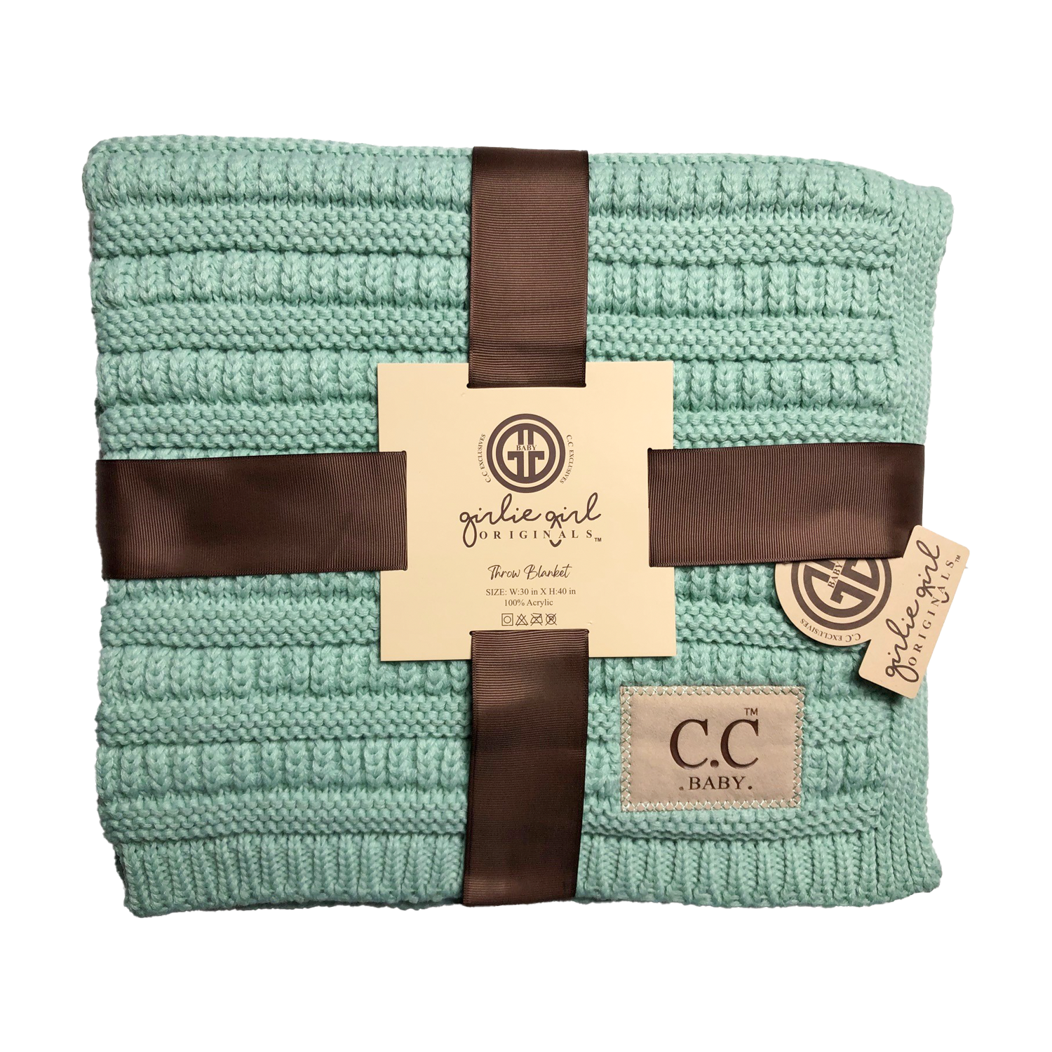 BBL-23 Solid Ribbed Baby Blanket Mint
