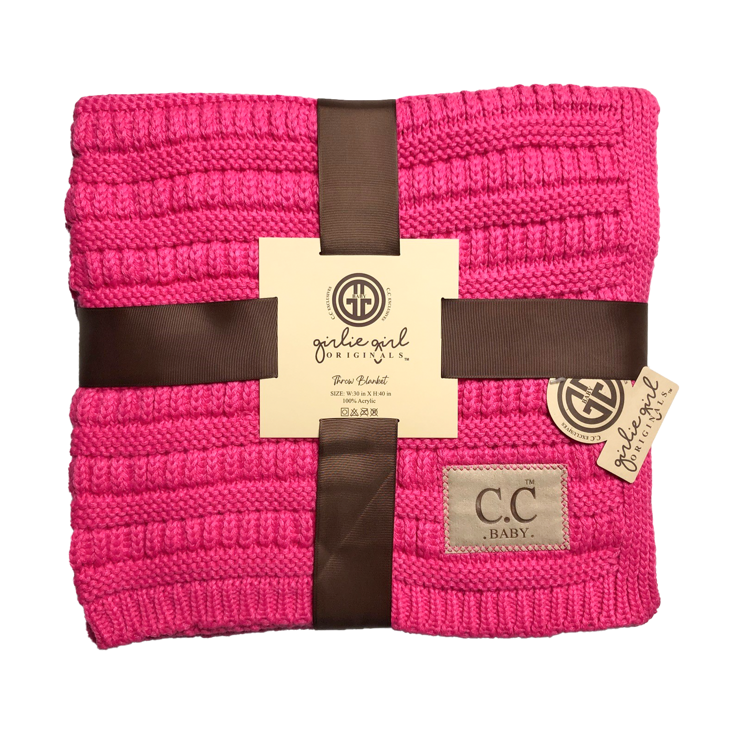 BBL-23 Solid Ribbed Baby Blanket New Candy Pink