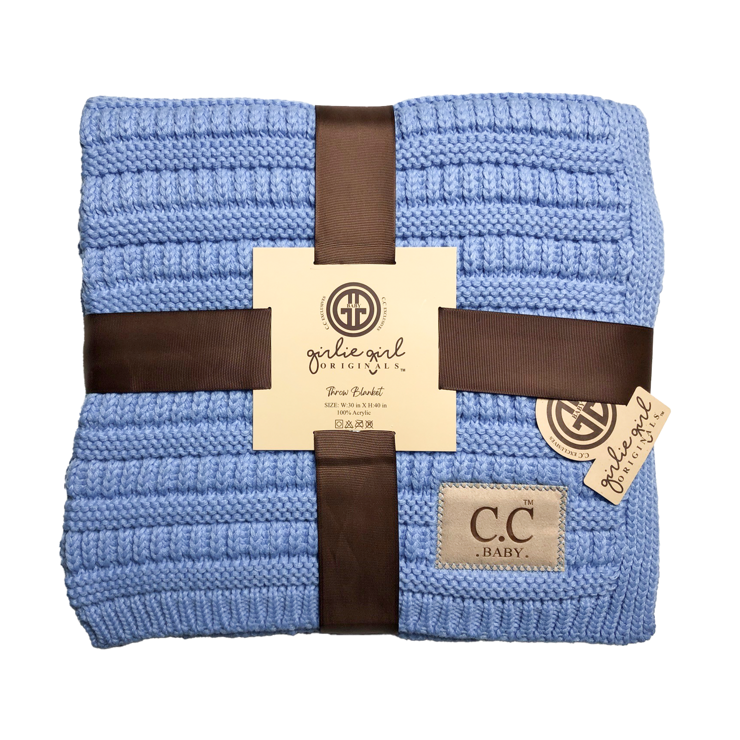 BBL-23 Solid Ribbed Baby Blanket Pale Blue