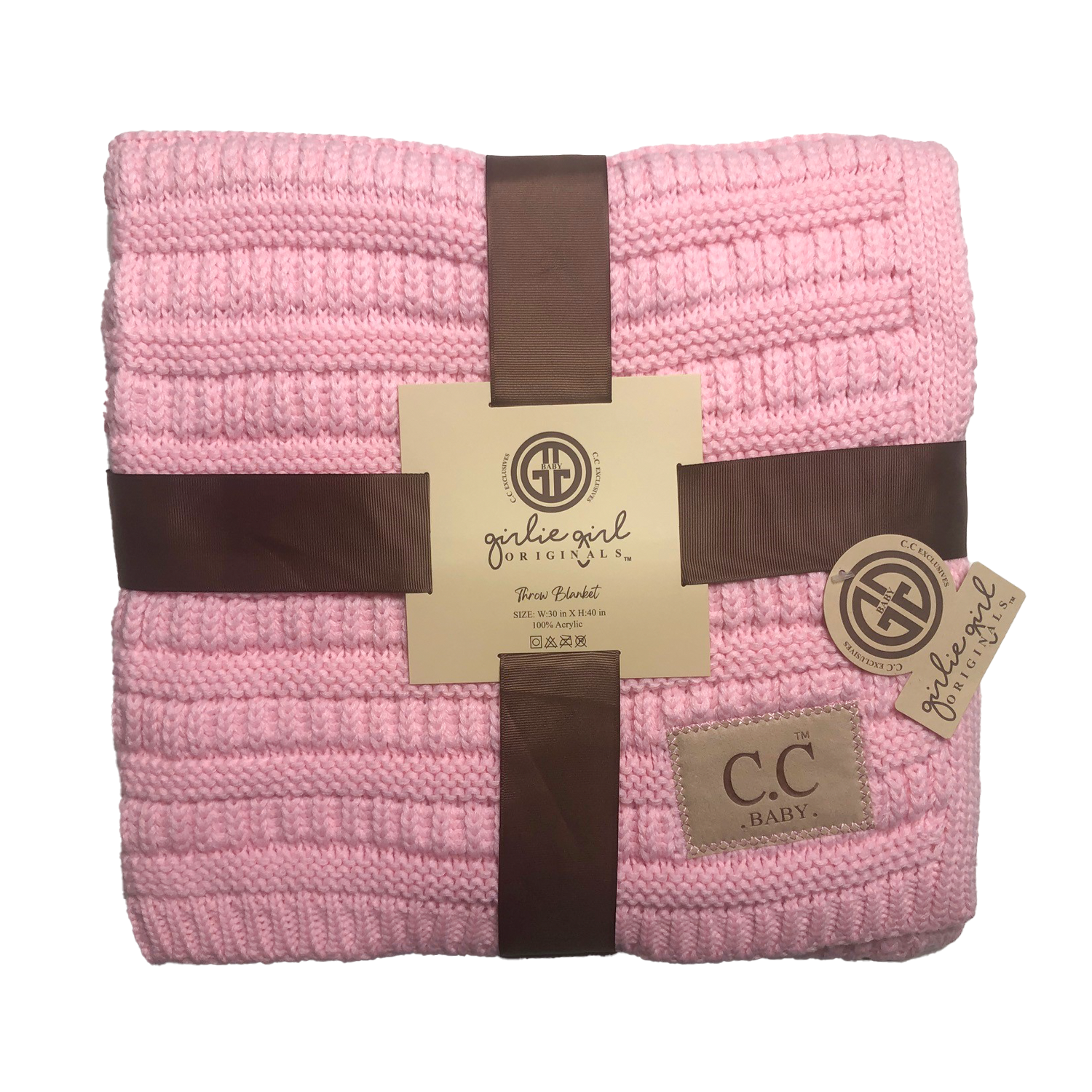 BBL-23 Solid Ribbed Baby Blanket Pale Pink