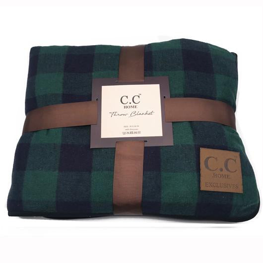 BL-3 Buffalo Plaid Green/Navy Sherpa Blanket