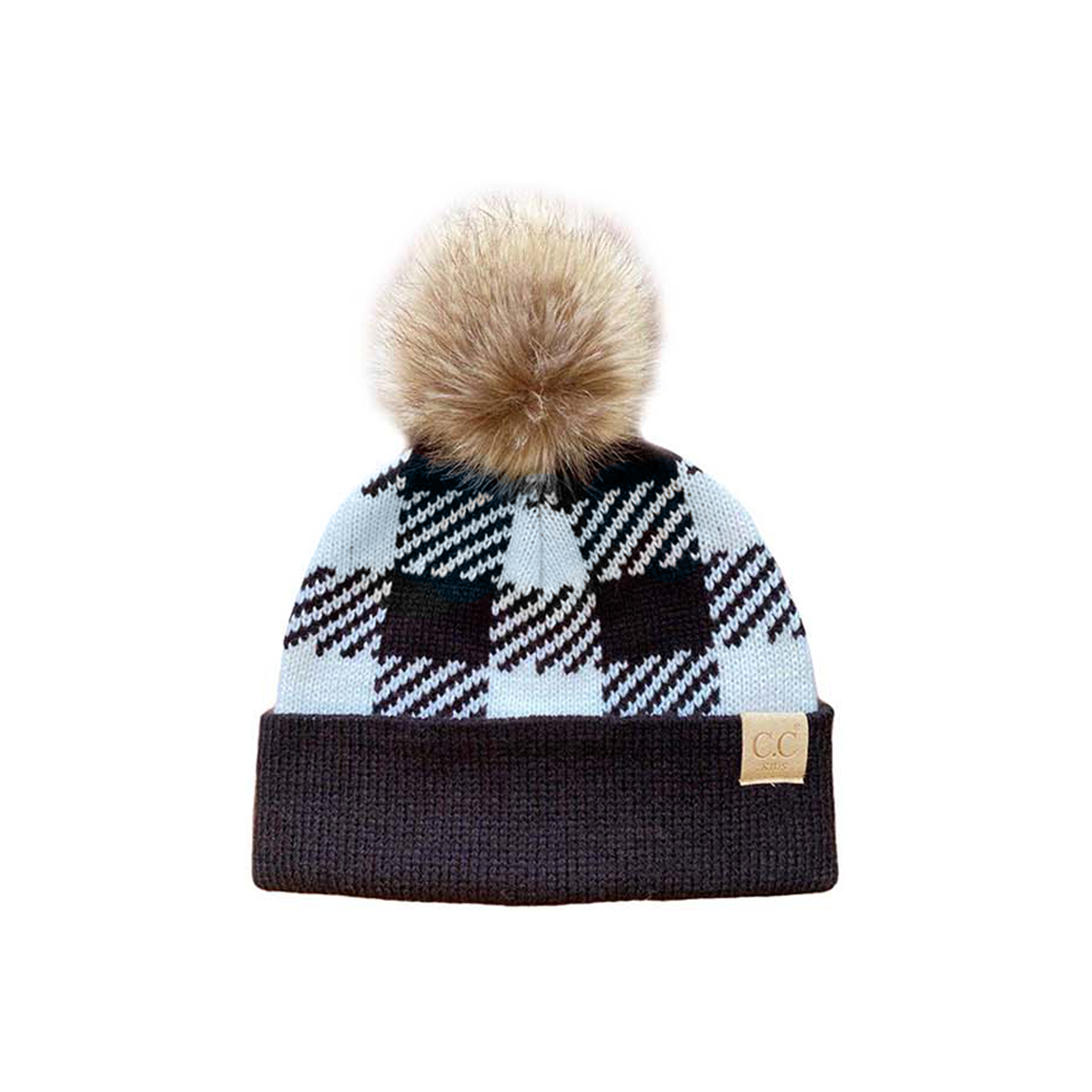 BP-43-KIDS Buffalo Plaid Beanie w/Faux Fur Pom - White/Black