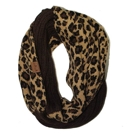 SF45-Brown Leopard Infinity Scarf