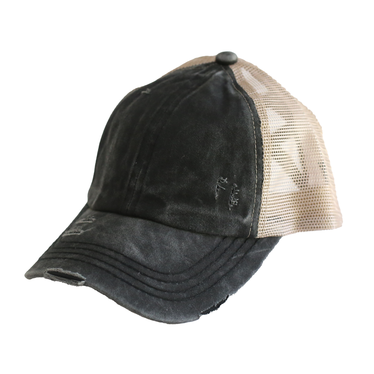 BT-780 C.C Criss Cross Pony Cap BLACK/BIEGE