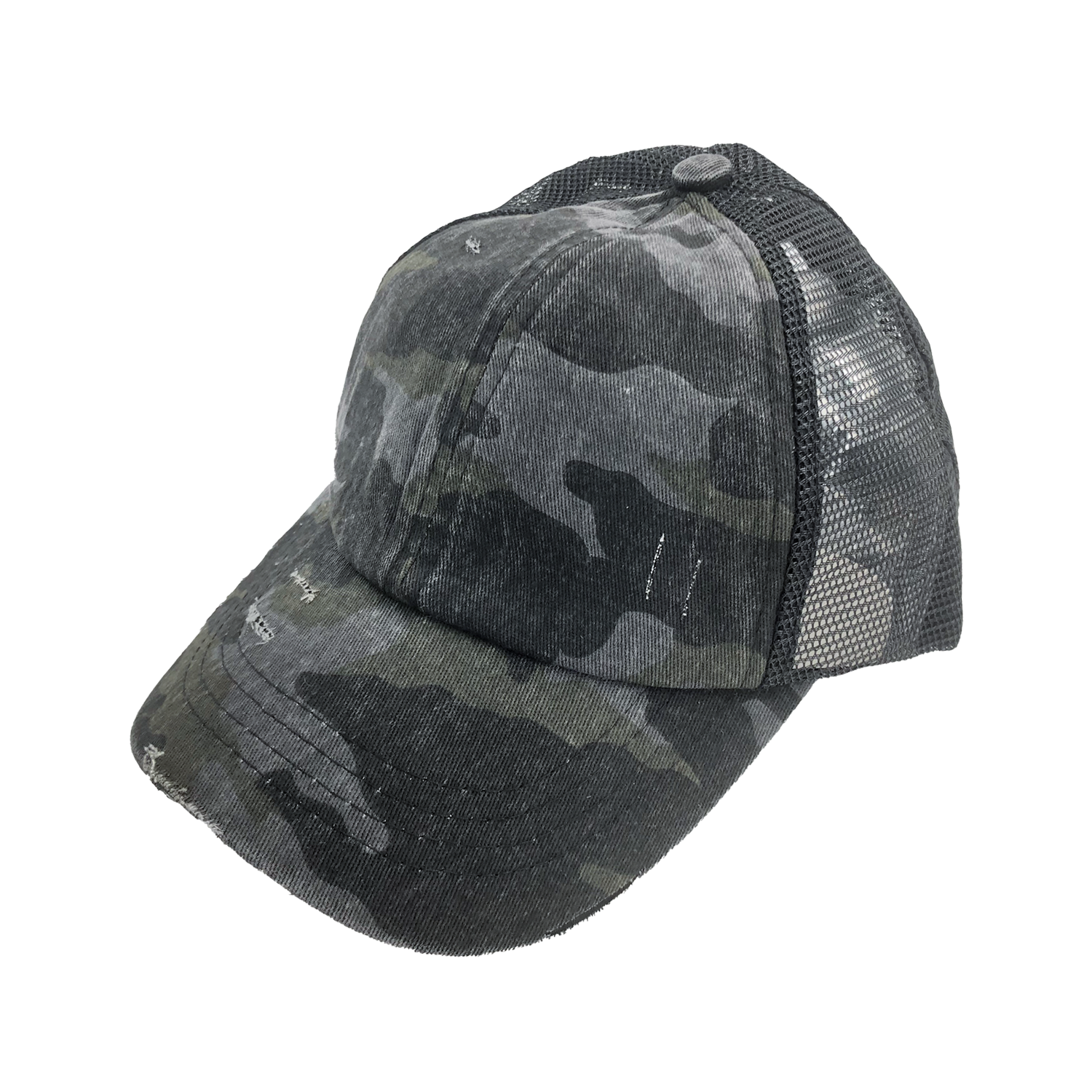 BT-783 C.C Criss Cross Pony Cap BLACK CAMO/BLACK