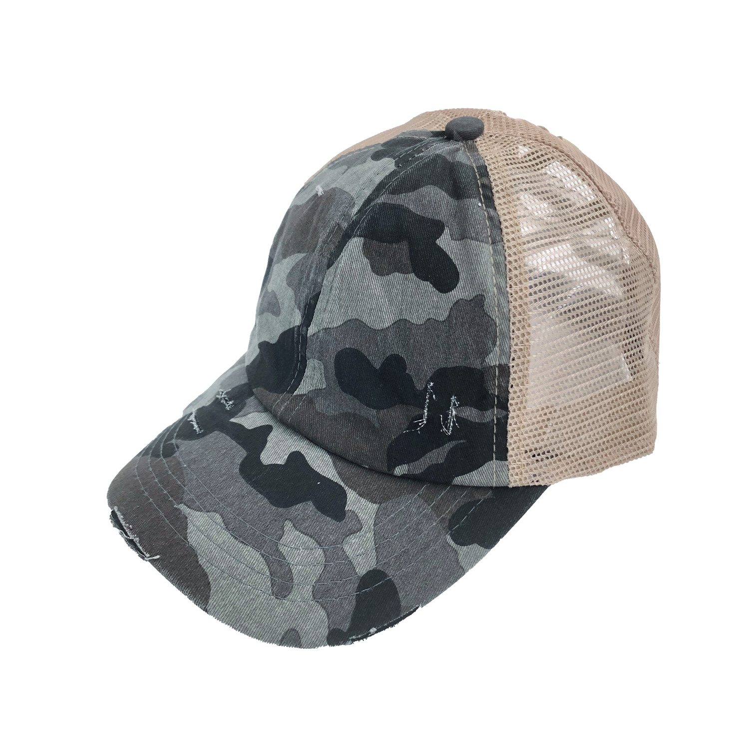 BT-783 C.C Criss Cross Pony Cap GREY CAMO/BEIGE
