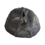 BT-780 C.C Criss Cross Pony Cap GREY/GREY