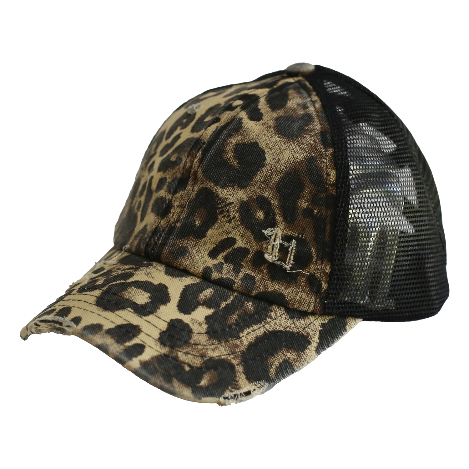 BT-780 C.C Criss Cross Pony Cap LEOPARD/BLACK