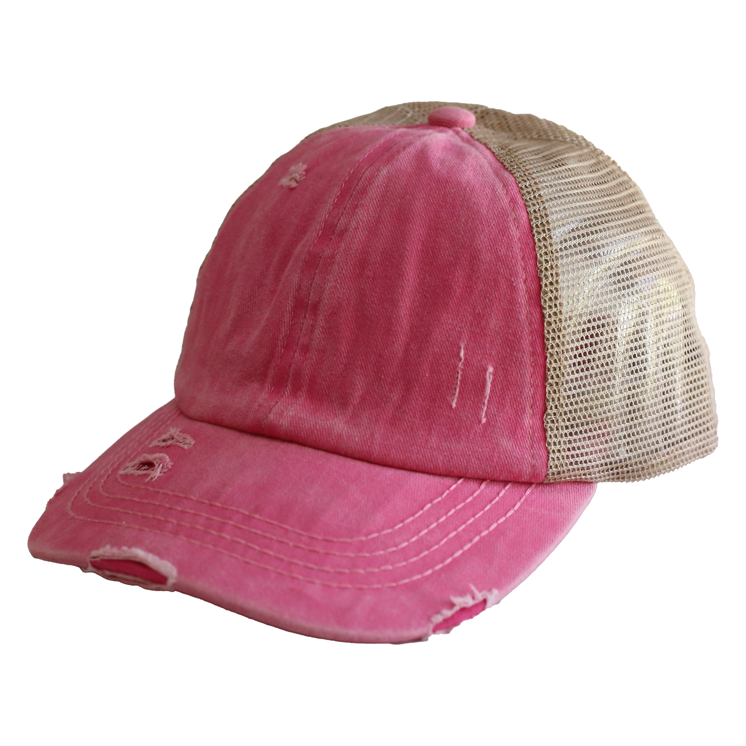 BT-780 C.C Criss Cross Pony Cap PINK/BEIGE