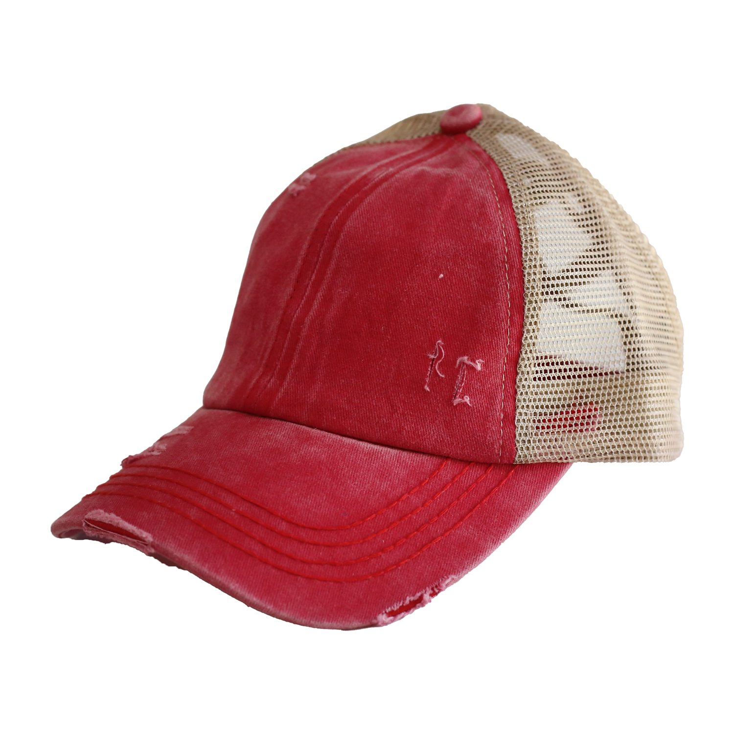 BT-780 C.C Criss Cross Pony Cap RED/BEIGE