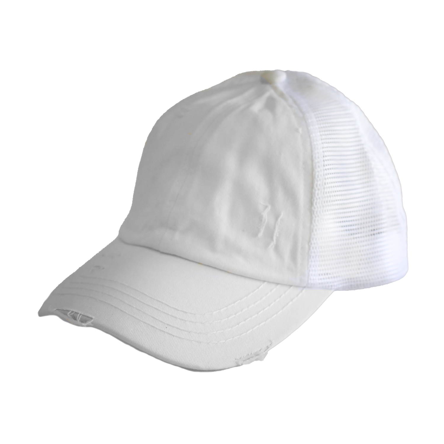 BT-780 C.C Criss Cross Pony Cap WHITE/WHITE