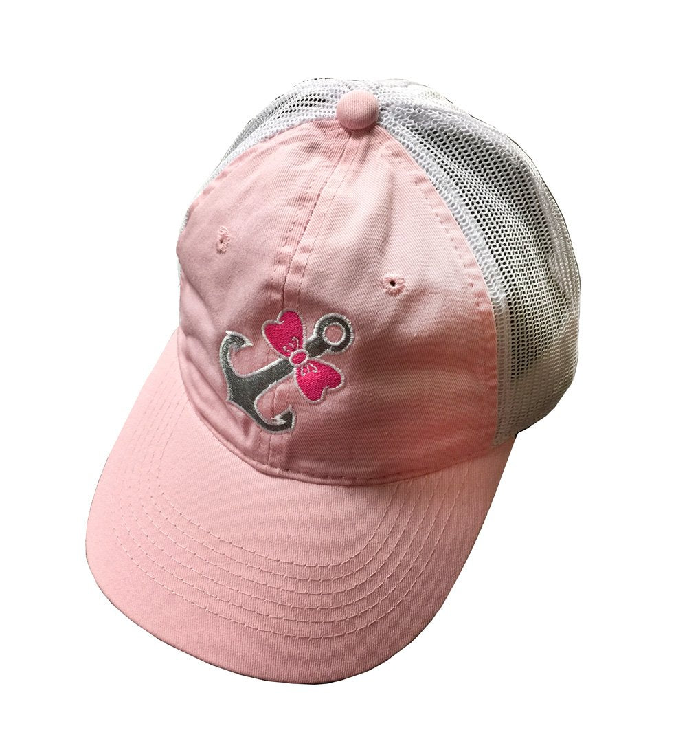 CAP-LIGHT PINK WITH PINK BOWTIE ANCHOR