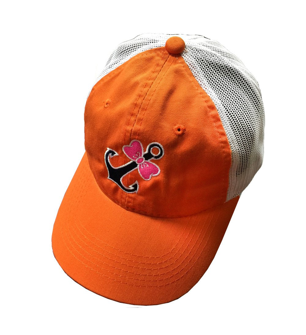 CAP- ORANGE WITH BOWTIE ANCHOR