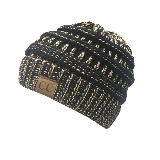 HAT-20A BEANIE BLACK/GOLD METALLIC