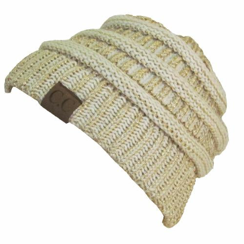HAT-20A BEANIE IVORY GOLD METALLIC