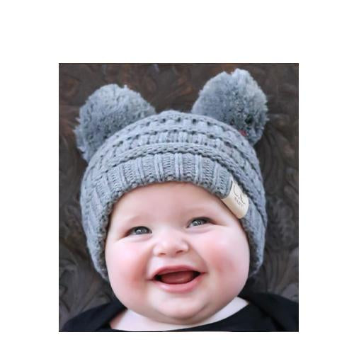 Baby-23 Double Pom Beanie Light Melange
