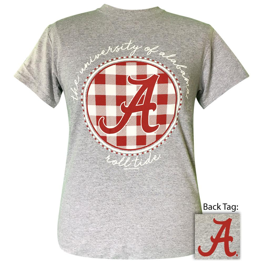 Sports Grey Women's College Shirt With Buffalo Plaid Alabama Logo