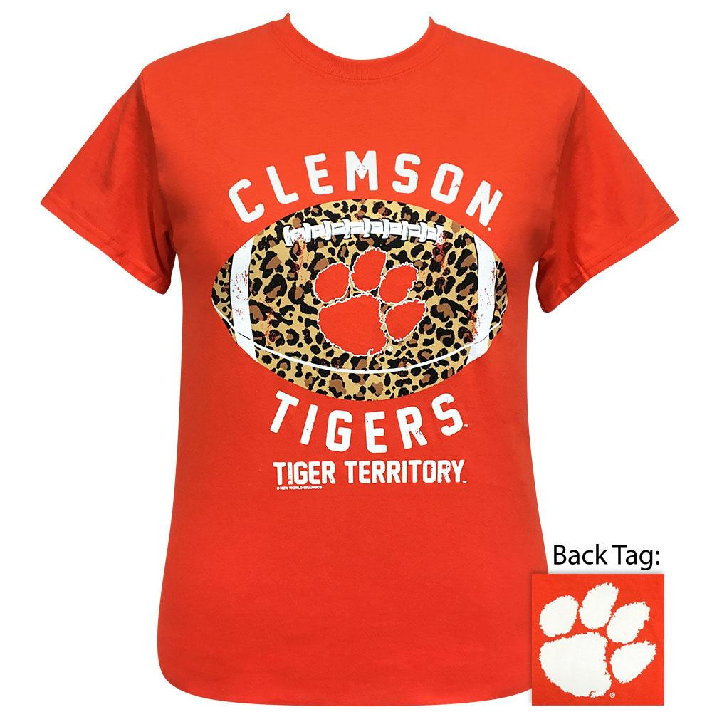 Front Picture of Clemson Orange Cotton Jersey With Leopard Print Football Design