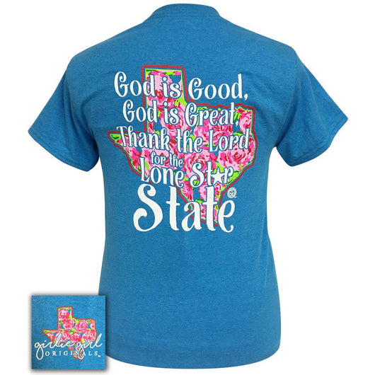 God is Good Lone Star Heather Sapphire Short Sleeve