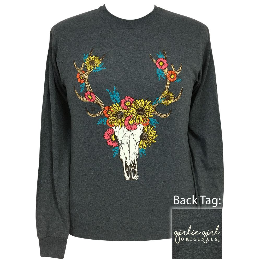 Autumn Deer Skull Dark Heather Long Sleeve