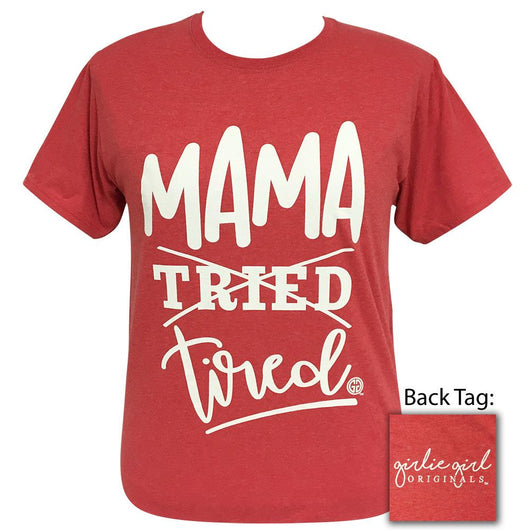 Mama Tired Fiery Heather Red Short Sleeve Tee