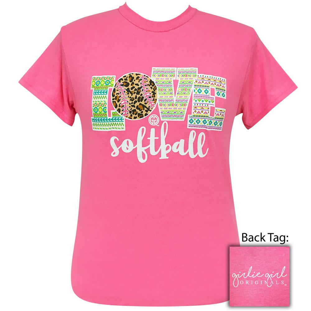 Love Softball 2 Safety Pink-2096 Short Sleeve