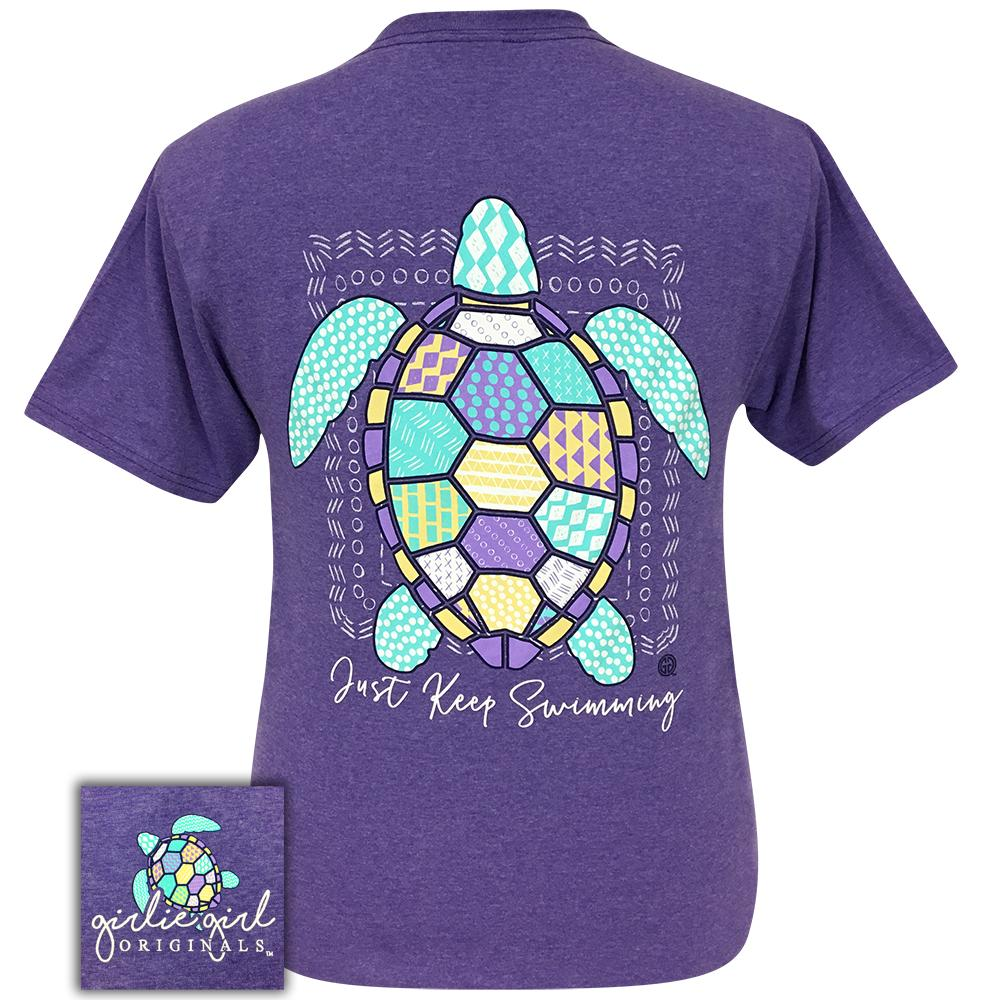 Short sleeve women's shirt in heather purple with a colorful graphic of a turtle with