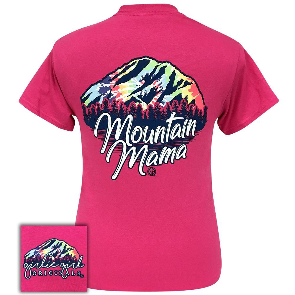 Short sleeve women's shirt with tie dye mountain and the words