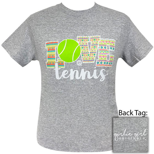 Grey Short Sleeved Women's Tee With Love Tennis