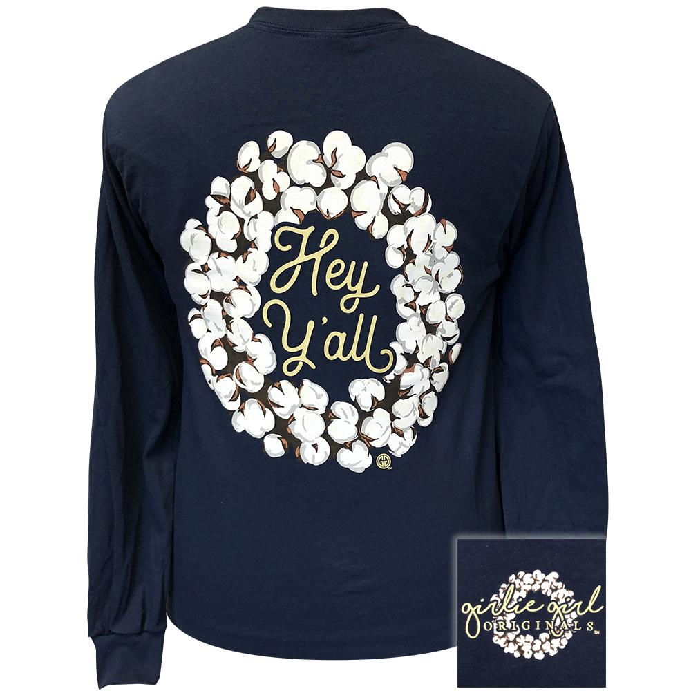 Hey Y'all Wreath Navy-2131 Long Sleeve