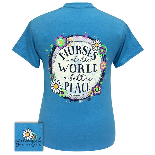 Women's short sleeve shirt in a heather saphire color with a graphic stating
