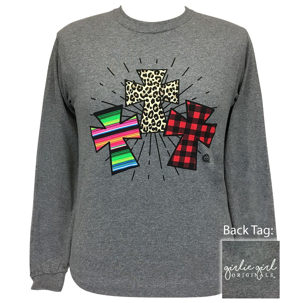 Pattern Crosses Graphite Longsleeve