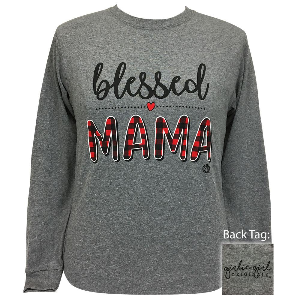 Blessed Mama Graphite Heather Long Sleeve
